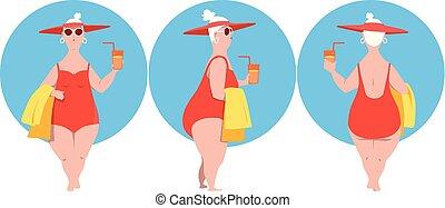 femme, caractère, dessin animé, mûrir