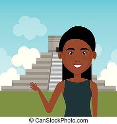femme, caractère, jeune, pyramide, scène