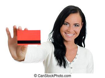 femme, card., isolé, crédit, white., sourire, rouges
