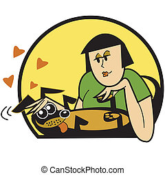 femme, caresser, agrafe, chien, art graphique