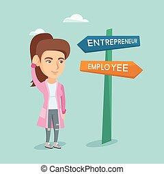 femme, carrière, confondu, pathway., choisir, caucasien