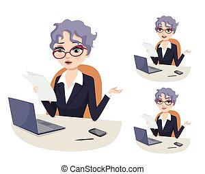 femme, carrière, travail, puissant, professionnel, politique, accablé, bureaucratique