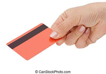 femme, carte de débit, main