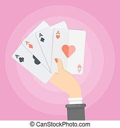 femme, cartes.
