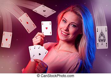 femme, casino, caucasien, poker, cartes, jeux & paris, beau