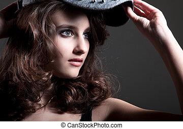 femme, casquette, jeune, joli