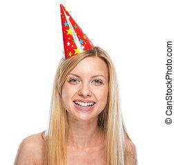 femme, casquette, jeune, portrait, fête, heureux