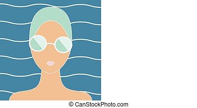 femme, casquette, natation