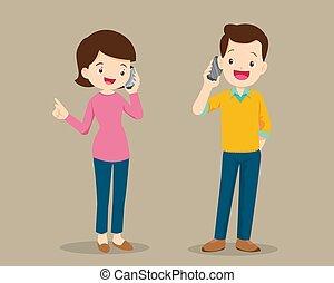 femme, cellule, conversation, téléphone, homme