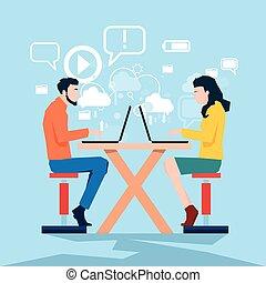 femme, centre, business, ordinateur portable, coworking, informatique, utilisation, homme