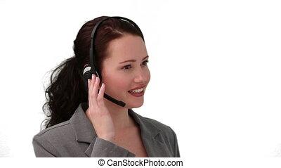 femme, centre, conversation, téléphone, brunette, appeler