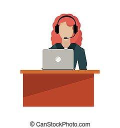femme, centre, fonctionnement, ordinateur portable, appeler, opérateur
