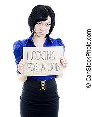femme, chômeur, isolé, regarder, white., job., carton, sur