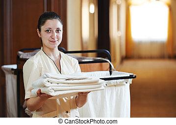 femme chambre, à, hôtel