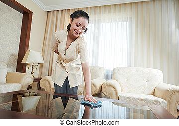 femme chambre, à, hôtel, service