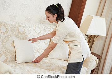 femme chambre, femme, hôtel, service