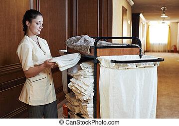 femme chambre, hôtel