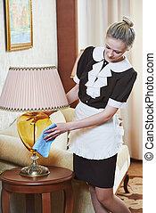 femme chambre, hôtel, service