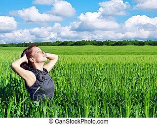 femme, champ blé, jeune
