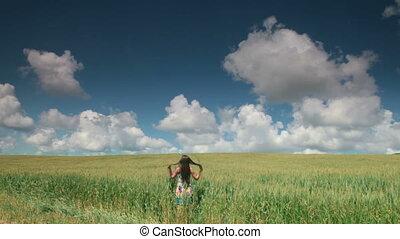 femme, champ blé