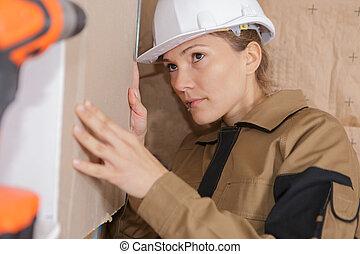 femme, chantier, ouvrier construction