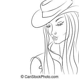 femme, chapeau