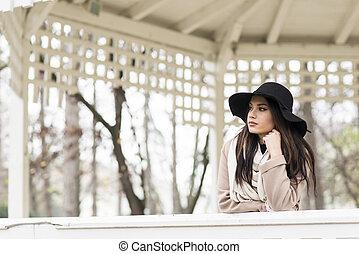 femme, chapeau, jeune, joli
