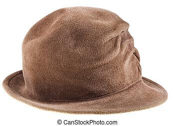 femme, chapeau joueur boules, feutre