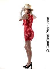 femme, chapeau paille, court, robe, rouges