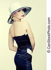 femme, chapeau, retro
