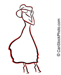 femme, chapeau, romantique