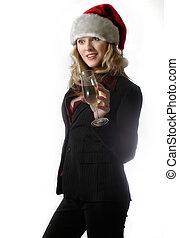 femme, chapeau, santa