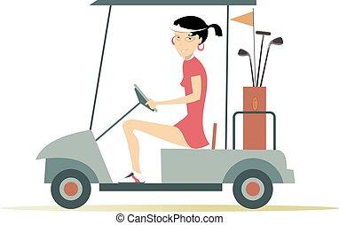 femme, chariot golf