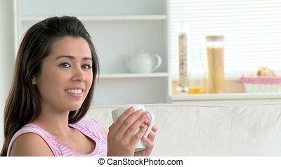 femme, charmer, café, asiatique