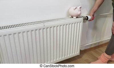 femme, chauffage, économie, inspection, radiator., chauffage...