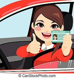 femme, chauffeur, licence
