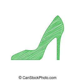 femme, chaussure, contour, illustration., signe., arrière-plan., gribouiller, blanc, icône, vert, solide