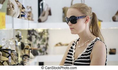 femme, chaussure, jeune, shop.