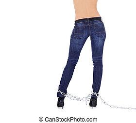 femme, chaussures, sur, élevé,  sexy, blanc, chaînes, talon
