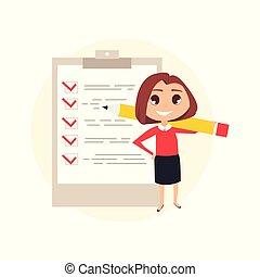 femme, checklist., business