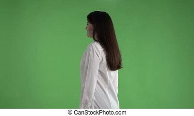 femme, chemise, business, écran, contre, conversation, appareil photo, brunette, blanc vert
