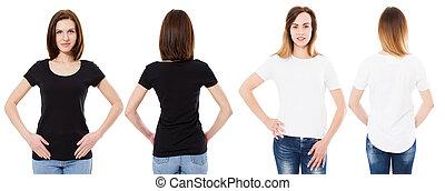 femme, chemise, mockup, dos, space., isolé, t-shirt, devant, brunette, noir, t, fond, vue, blanc, copie, girl