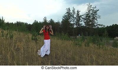 femme, chemise, rouges, beau