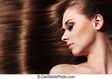 femme, cheveux, beau, jeune