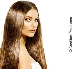 femme, cheveux, beauté, brun, lisser, sain, long, brillant