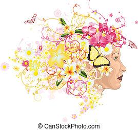 femme, cheveux, fleurs, fait, beau