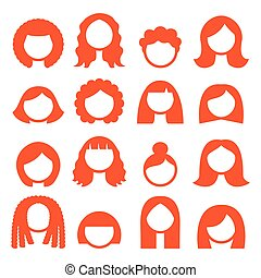 femme, -, cheveux gingembre, styles, perruques