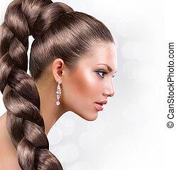 femme, cheveux, hair., brun, portrait, sain, long, beau