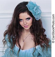 femme, cheveux, jeune, portrait, bouclé, fleur, beau
