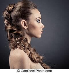 femme, cheveux, portrait., brun, long, beau